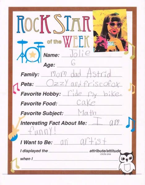 confidence building activities for kids Middle Class Dad Jolie Campbell Rock Star of the Week form from her school