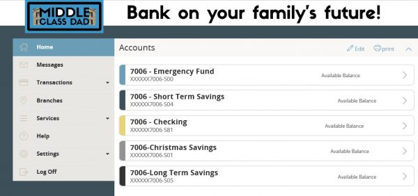 multiple bank accounts for budgeting screen shot of bank accounts Middle Class Dad