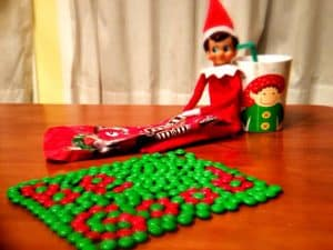 elf on the shelf mischievous ideas Middle Class Dad Elf on the Shelf spelling messages with MnM's