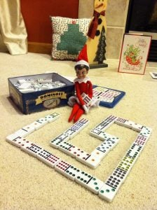 elf on the shelf mischievous ideas Middle Class Dad Elf on the Shelf playing dominoes