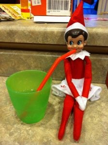 elf on the shelf mischievous ideas Middle Class Dad Elf on the Shelf drinking through a straw