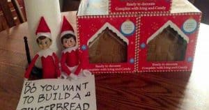 elf on the shelf mischievous ideas Middle Class Dad Elf on the Shelf dolls next to a gingerbread house