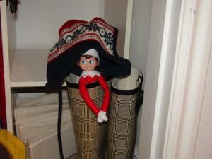 elf on the shelf mischievous ideas Middle Class Dad Elf on the Shelf hiding inside of a boot