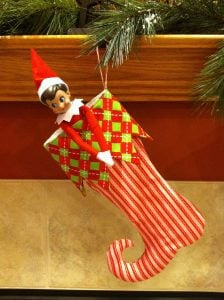 elf on the shelf mischievous ideas Middle Class Dad Elf on the Shelf stuck in a stocking
