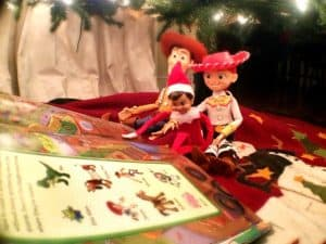 elf on the shelf mischievous ideas Middle Class Dad Elf on the Shelf playing with Woody and Jessie from Toy Story