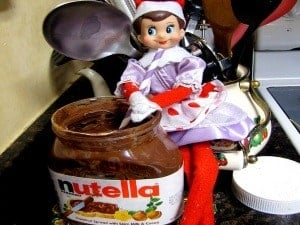 elf on the shelf mischievous ideas Middle Class Dad Elf on the Shelf eating Nutella