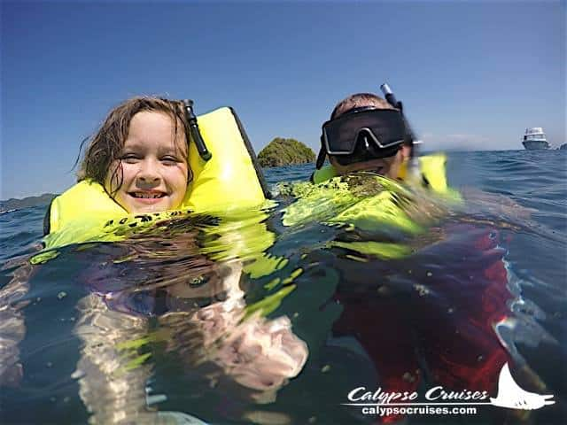 visit Guanacaste Costa Rica Middle Class Dad snorkling off Isla Tortuga on a Calypso Cruise