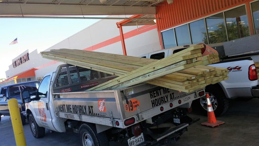 Home Depot truck rental loaded with deck boards how to build a deck step by step with pictures Middle Class Dad