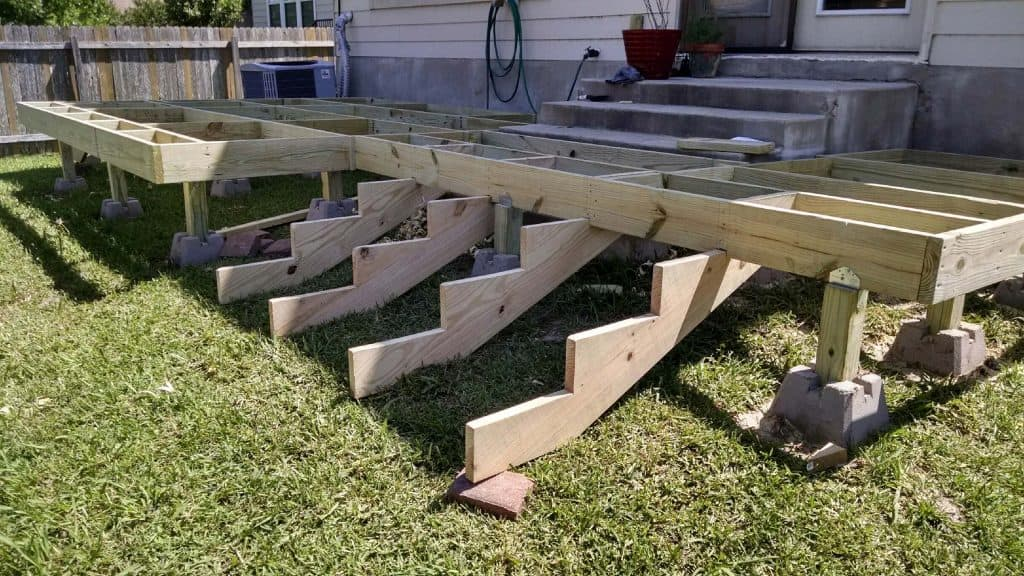 deck frame done without deck boards how to build a deck step by step with pictures Middle Class Dad