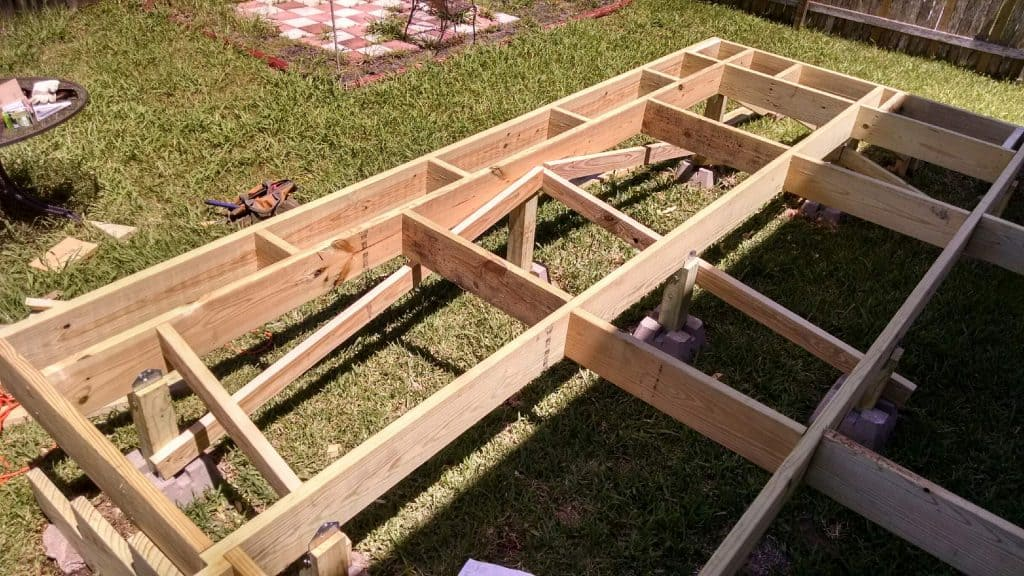 deck frame and cross braces how to build a deck step by step with pictures Middle Class Dad