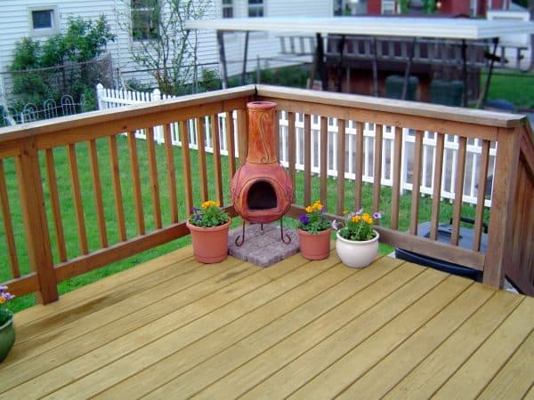 nice deck with a chiminea how to build a deck step by step with pictures Middle Class Dad