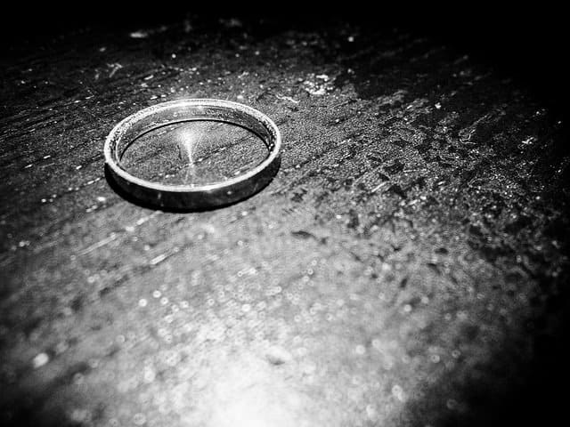 wedding ring in black and white on a table Middle Class Dad top reasons for divorce statistics