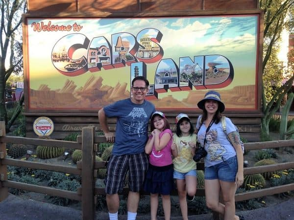 Campbell family at Cars Land in Disneyland affordable family vacation destinations Middle Class Dad