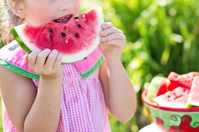 young girl eating a watermelon wearing a pink dress healthy eating habits for children Middle Class Dad