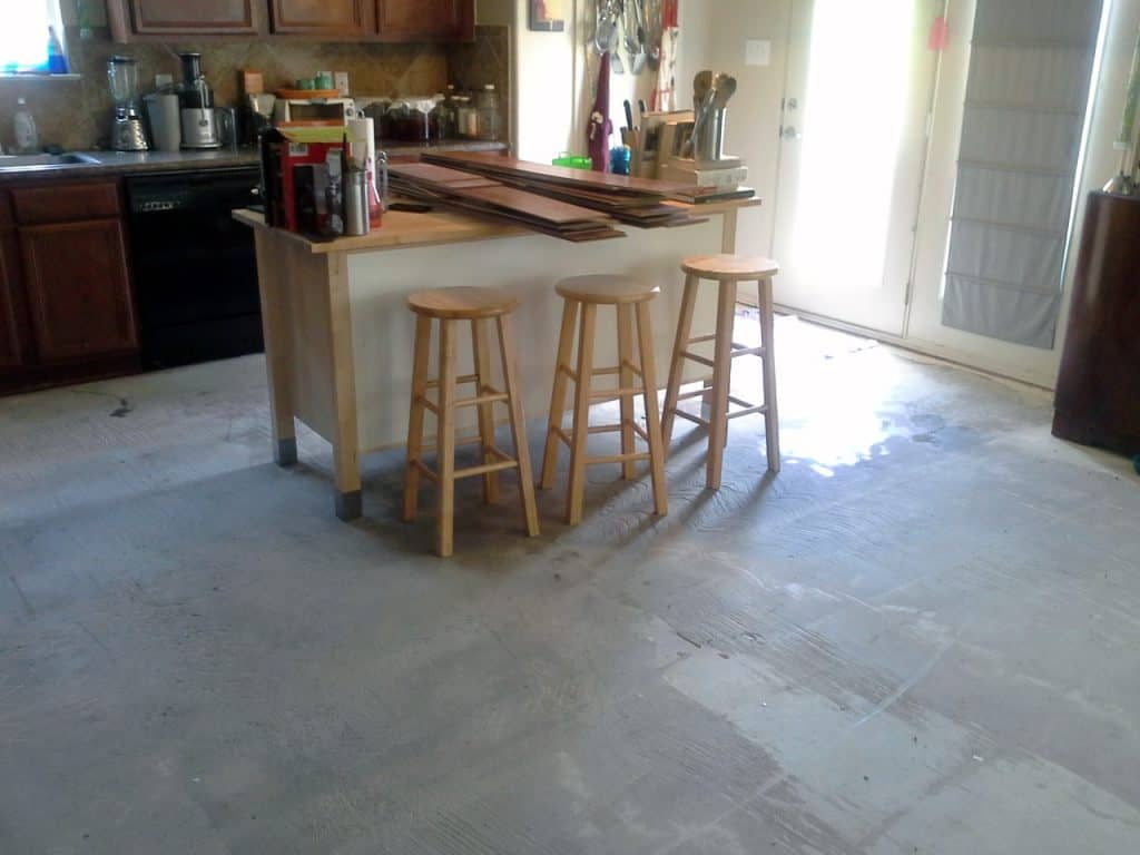 how to stain interior concrete floors Middle Class Dad leveling compound showing