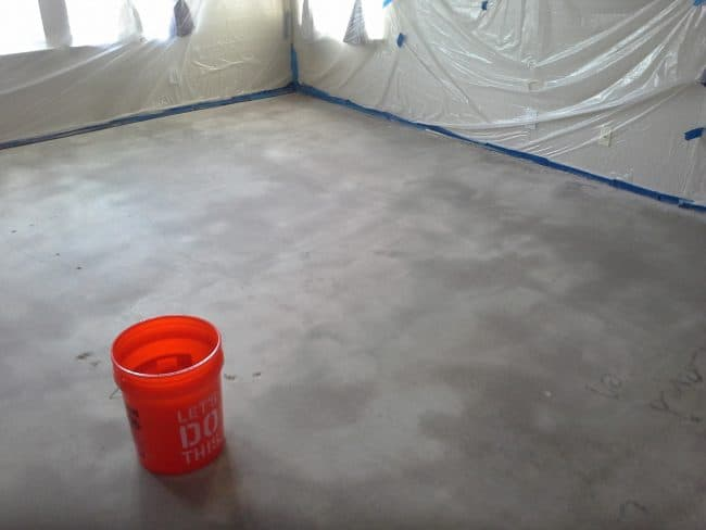 how to stain interior concrete floors Middle Class Dad floor prepped for stain