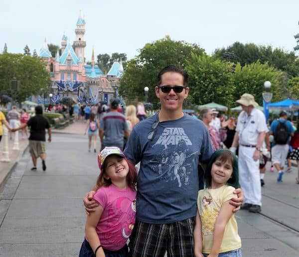 great Father's Day Quotes Jeff Campbell and daughters at Disneyland Middle Class Dad