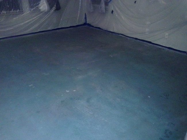 how to stain interior concrete floors Middle Class Dad 2nd coat of blue stain