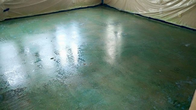 how to stain interior concrete floors Middle Class Dad colored sealer added to the concrete floor stain