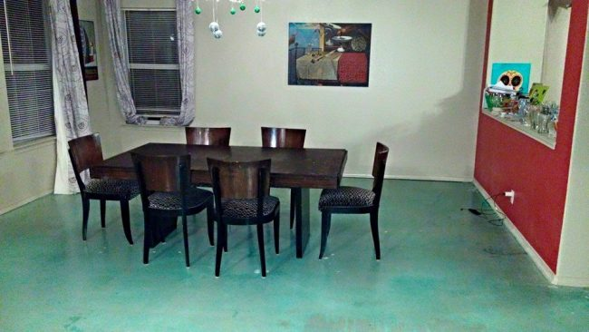 how to stain interior concrete floors Middle Class Dad dining room floor stained turquoise blue