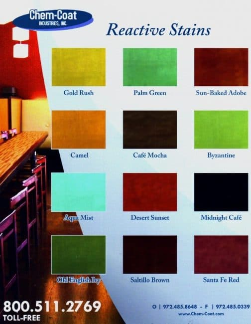 how to stain interior concrete floors Middle Class Dad Chem-Coat reactive stain color chart