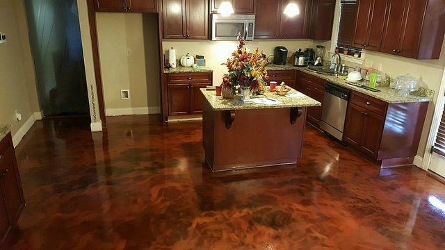 how to stain interior concrete floors Middle Class Dad beautiful chocolate brown stained concrete floors in a kitchen