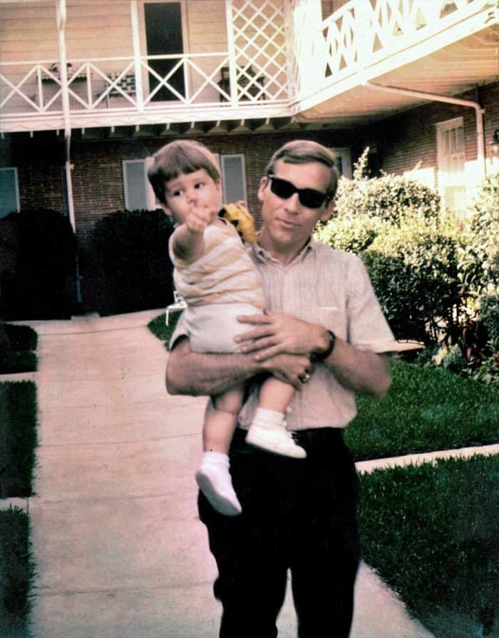 Gay Father - JT Campbell Jr. holding his son Jeff Campbell in the mid-1960's - Middle Class Dad blog