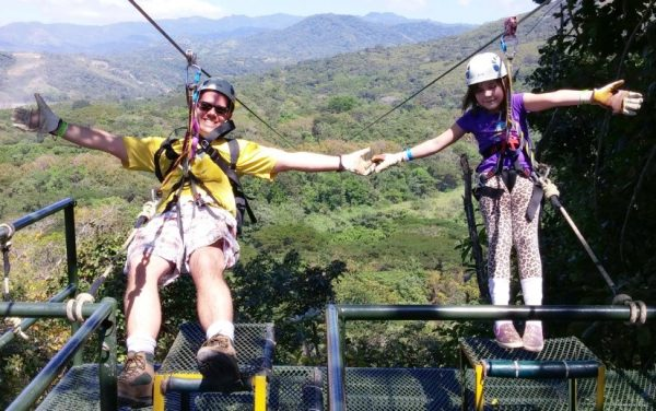 benefits of facing your fears Middle Class Dad Jeff & Jolie Campbell zip lining in Costa Rica