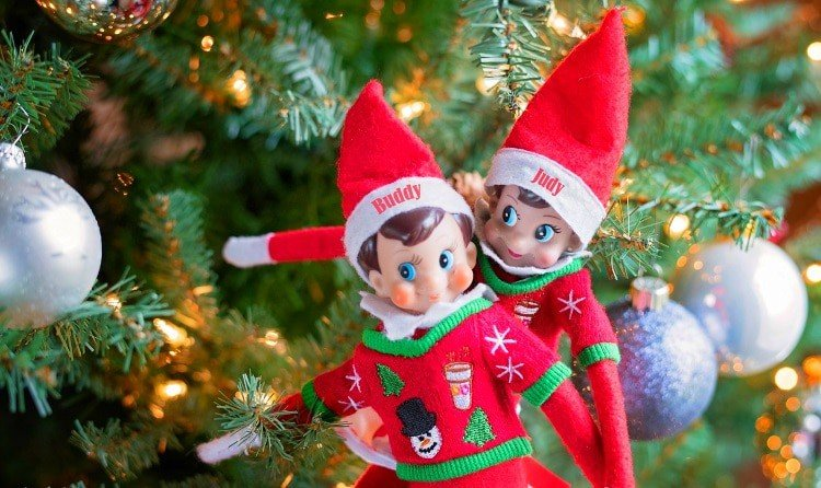 elf on the shelf mischievous ideas Middle Class Dad 2 Elf on the Shelf dolls stuck in a Christmas tree