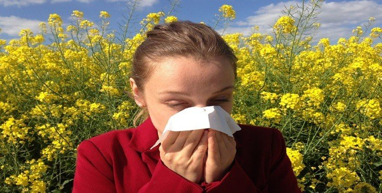 how to cure allergies naturally Middle Class Dad woman in a red top in a field of flowers sneezing into a tissue
