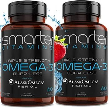anti dad bod workout (2-Pack) Omega 3 Fish Oil, Strawberry Flavor, Burpless, Tasteless, 2000mg, Triple DHA EPA, Triple Strength Brain Support, Made with AlaskOmega® Middle Class Dad