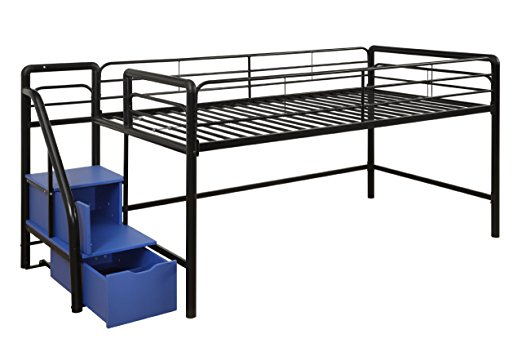 DHP Junior Twin Metal Loft Bed with Storage Steps, Space-Saving Solution, Multifunctional, Black with Blue Steps best mattress for kids Middle Class Dad