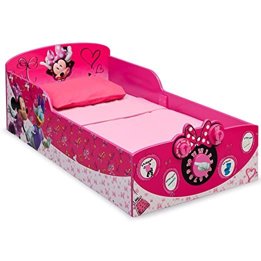 Delta Children Interactive Wood Toddler Bed, Disney Minnie Mouse best mattress for kids Middle Class Dad