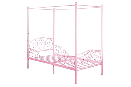 DHP Canopy Bed with Sturdy Bed Frame, Metal, Twin Size - Pink best mattress for kids Middle Class Dad