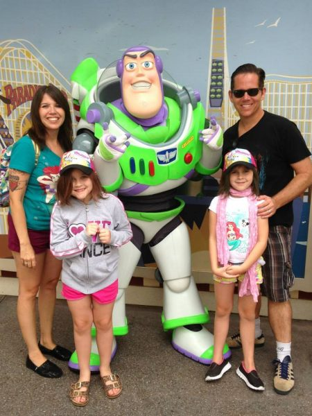 Campbell family with Buzz Lightyear at Disneyland Middle Class Dad
