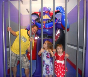 Campbell family with Evil Emperor Zurg at Disneyland Middle Class Dad