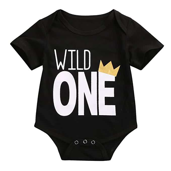 baby's first birthday ideas black onesie middle class dad