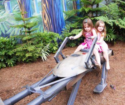 the girls fly on their speeder