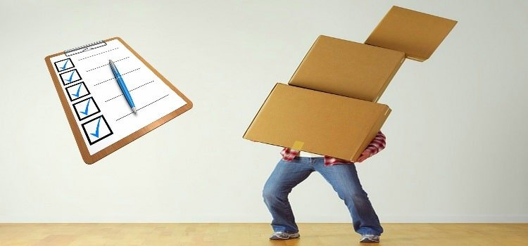 stay organized with a printable moving checklist Middle Class Dad man carrying 3 moving boxes with a checklist and pen