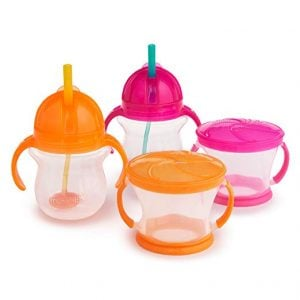 Middle Class Dad best sippy cups for breastfed babies Munchkin Click Lock Weighted Flexi Straw Trainer Cup Happy Snacker collection