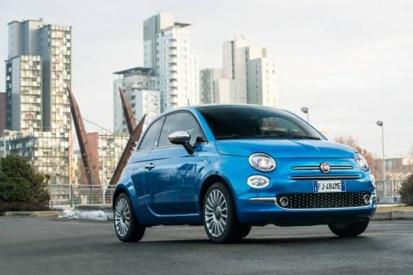 least expensive cars to insure for teenage drivers Fiat 500 blue Middle Class Dad