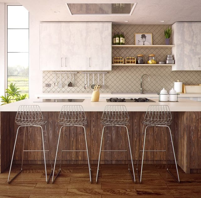 kitchen splashback ideas modern kitchen with 4 metal barstools Middle Class Dad