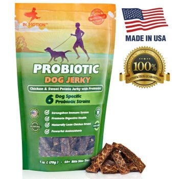 Middle Class Dad health benefits of walking your dog Healthy Dog Treats Probiotic Jerky- All Natural Chicken Sweet Potato Pet Chews and Probiotics Supplement - Chewable Treat for Dogs Best for Pets Wellness, Gas or Diarrhea - Made in USA Only: 6 ounces