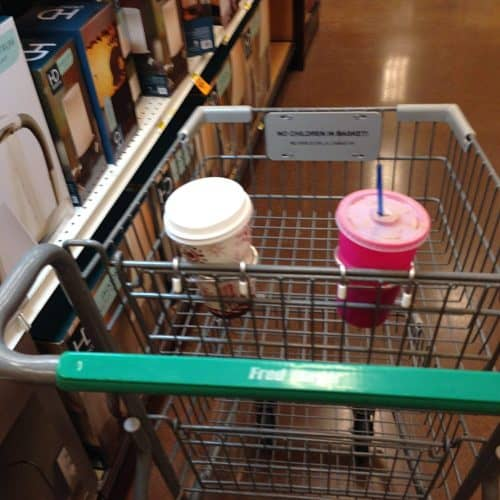 shopping cart coffee cup holder Middle Class Dad 2 coffee cup holders clipped to a shopping cart with beverages in them