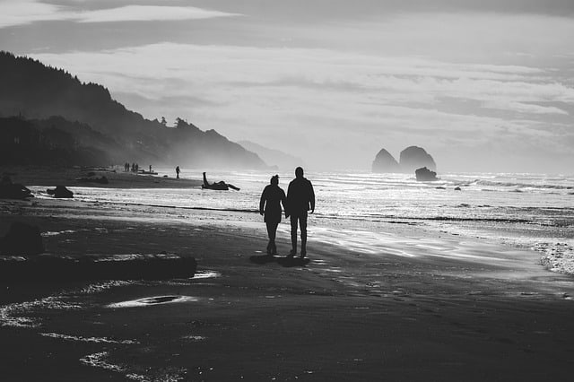 taking care of a husband with dementia Middle Class Dad black and white photo of a couple on the beach