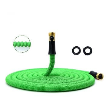 HooSeen Garden Hose, Lightweight Expandable Water Hose, Expanding Hose with Solid Brass Connector, Double Latex Inner Tube, for Car Washing, Garden Watering (50ft, Green) Middle Class Dad Best Expandable Garden Hose