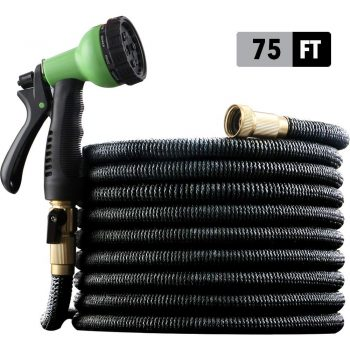 "[2019 NEW] HEAVY DUTY 75 ft Non-Kink Expandable Garden Hose, 10-PATTERN Spray Nozzle INCLUDED, 3/4"" Brass Fittings with Shutoff Valve, STRONGEST EXPANDABLE 75 foot HOSE - 2 YEAR WARRANTY - BLACK Middle Class Dad Best Expandable Garden Hose"
