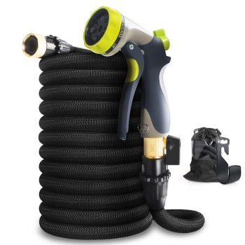 Aterod 75ft Expandable Garden Hose, Strongest Expandable Water Hose With Double Latex Core, Solid Brass Fittings, Extra Strength Fabric, Flexible Expanding Hose with 8 Function Spray Nozzle (75 Feet) Middle Class Dad Best Expandable Garden Hose