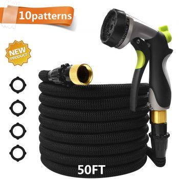 """CXRCY 50 Ft Garden Hose with 10 Pattern Spray Nozzle,Upgraded Expandable Flexible Water Hose with Double Latex Core, 3/4"""" Solid Brass Fittings, Extra Strength Fabric for Garden Backyard Car Pets wash Middle Class Dad Best Expandable Garden Hose"""