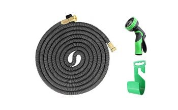 iZEEKER [2018 New] Three Times Expandable 50 Feet Magic Hose,Washing Car Hose,Strongest Expandable Garden Hose,Solid Brass Ends, Double Latex Core, Extra Strength Fabric (Black) Middle Class Dad Best Expandable Garden Hose